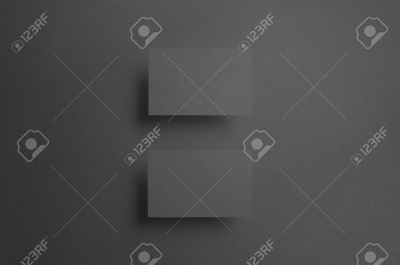 Black Business Card Mock Up 85x55mm Two Floating Cards