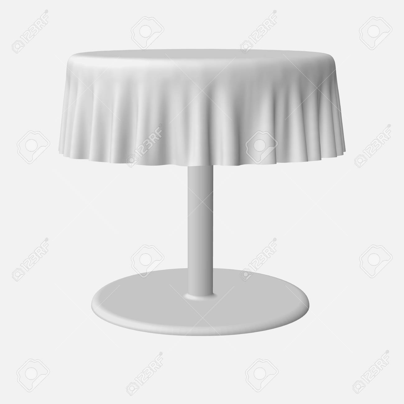 Round Table With Tablecloth.Eps10 Isolated Blank Round Table With Tablecloth In White Color