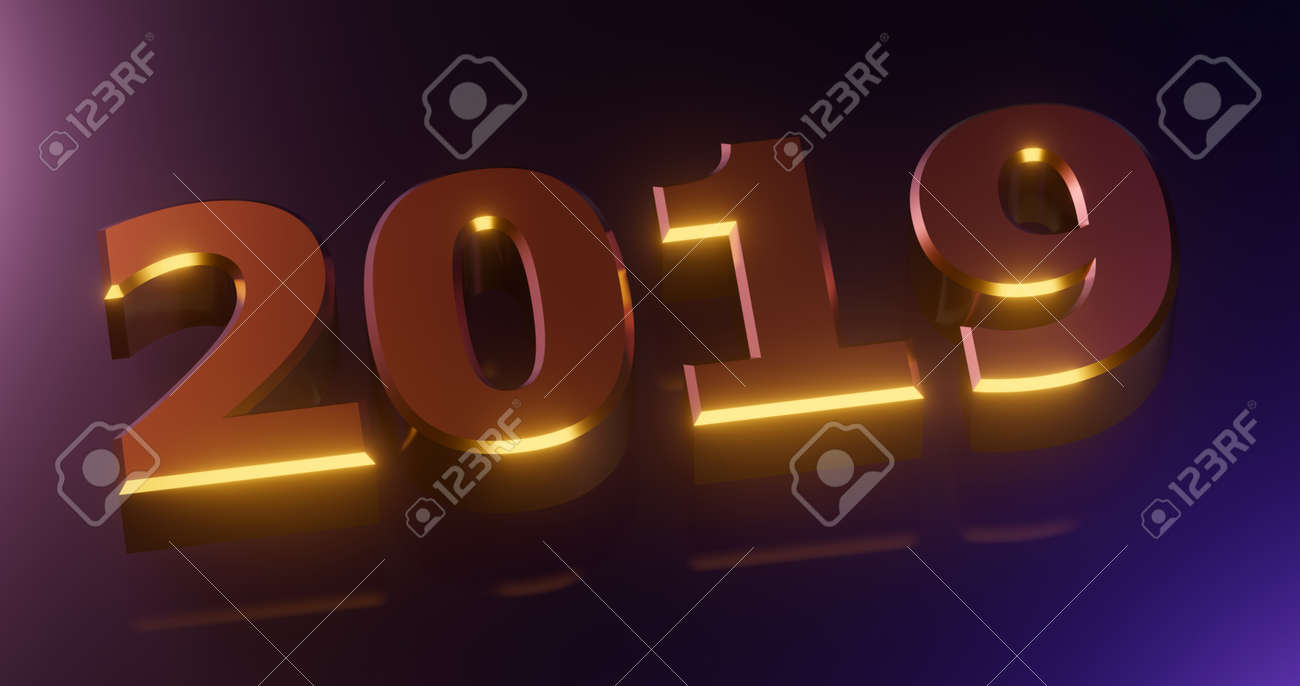 3d Rendering Happy New Year 2019 Holiday Illustration Gold Stock