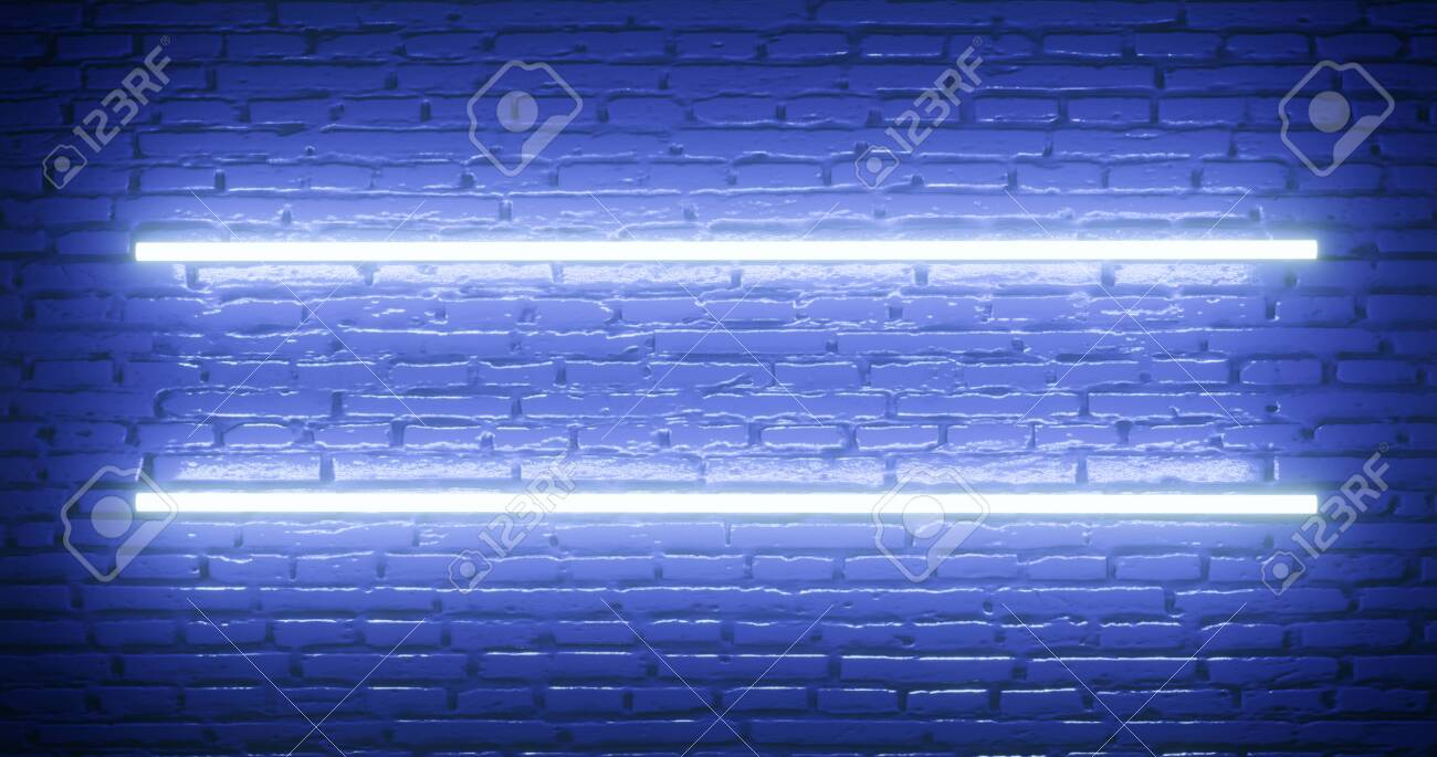 3d rendering  Brick wall illuminated by a neon blue light  Abstract