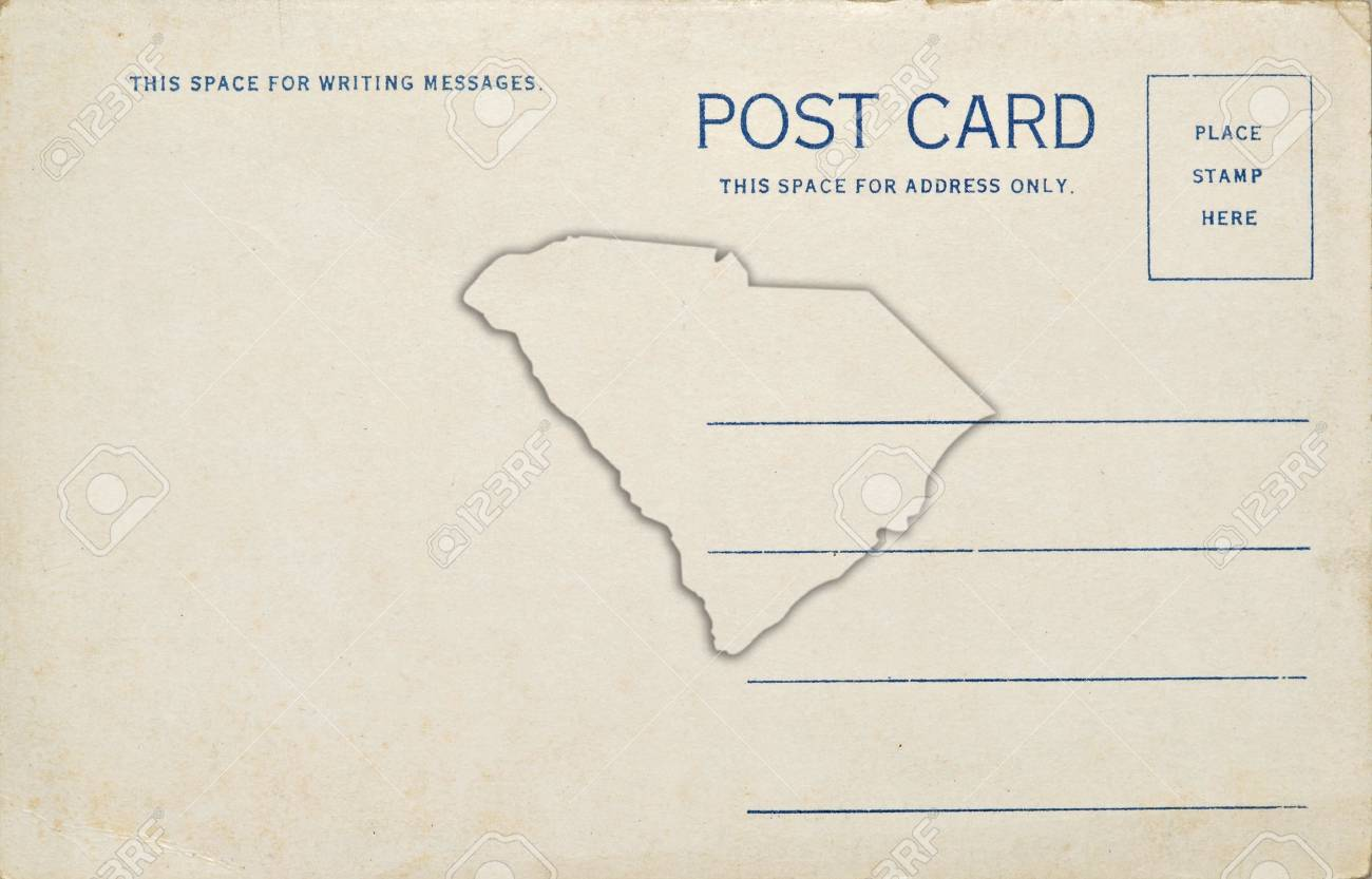 A Postcard With A South Carolina Map Outline Dirt And Scratches
