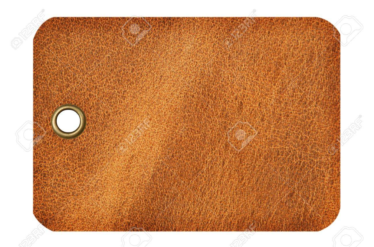 I tag background image - Leather Tag With Metal Grommet Isolated On A White Background Stock Photo 3775142