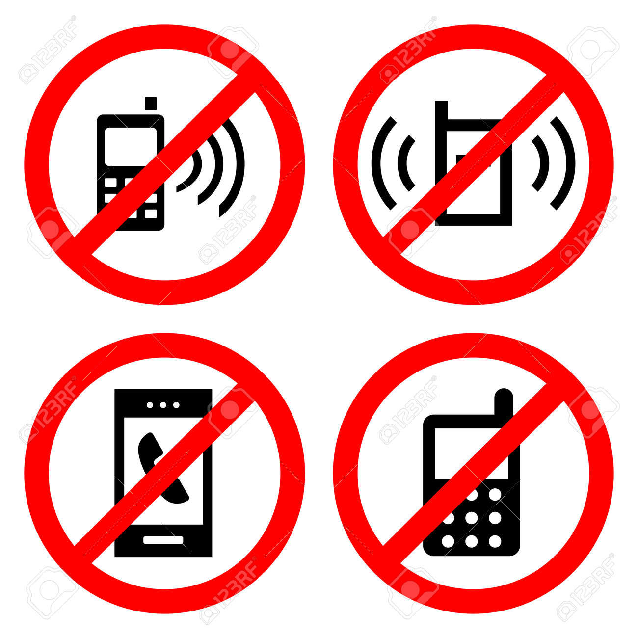 No Cell Phone Sign Icons Set Great For Any Use Royalty Free