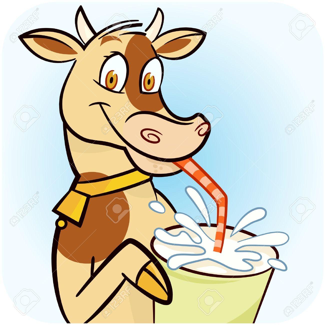 A cow drinking fresh milk Stock Vector - 13365868