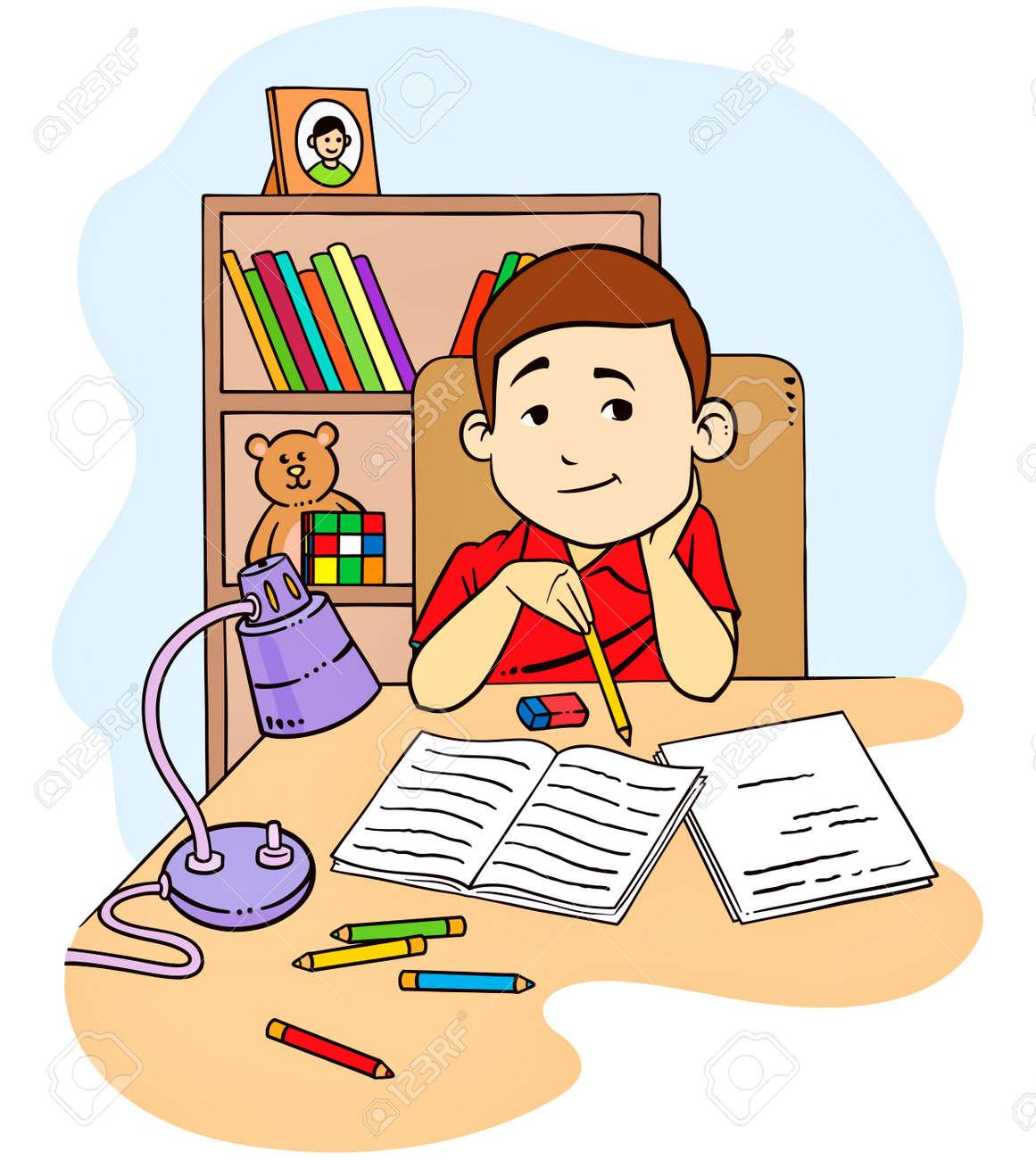 eine vektor-illustration von einem kind zu studieren und macht, Schlafzimmer entwurf