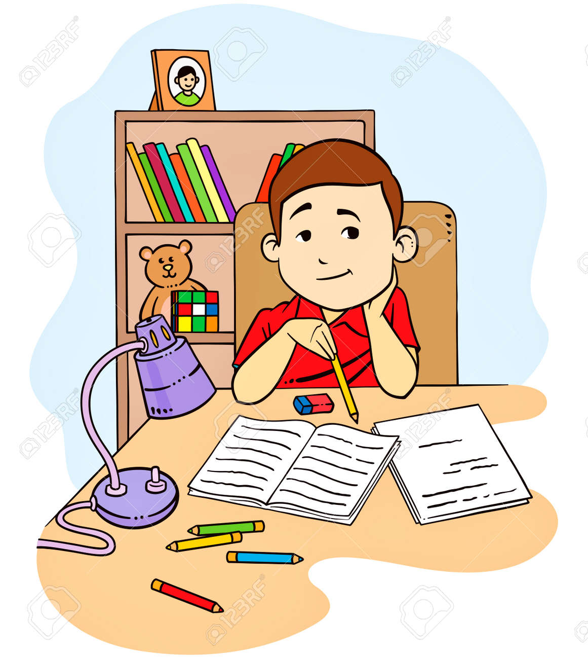 A vector illustration of a kid studying and doing his homework in his bedroom - 29202747
