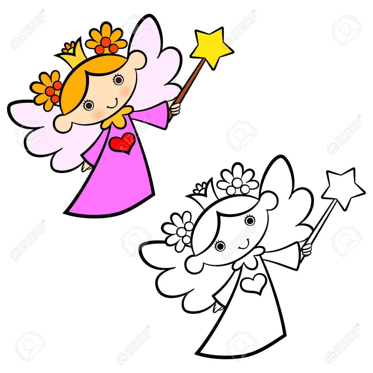 Cute Fairy Angel Coloring Book For Kids Royalty Free Cliparts ...