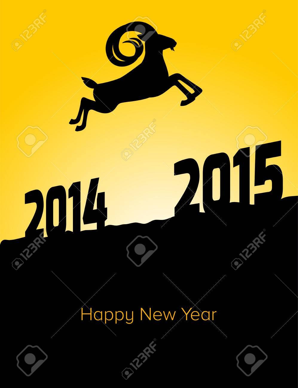 Frohes Neues Jahr 2015 Jahre Der Ziege. Eine Ziege Springt Von 2014 ...