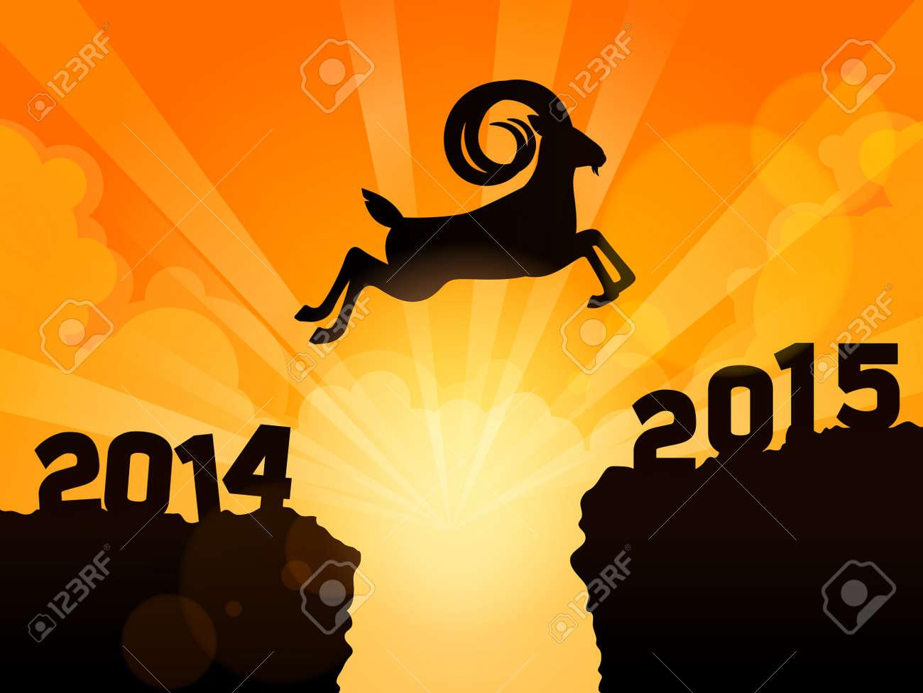 Frohes Neues Jahr 2015 Jahr Der Ziege. Eine Ziege Springt 2014-2015 ...