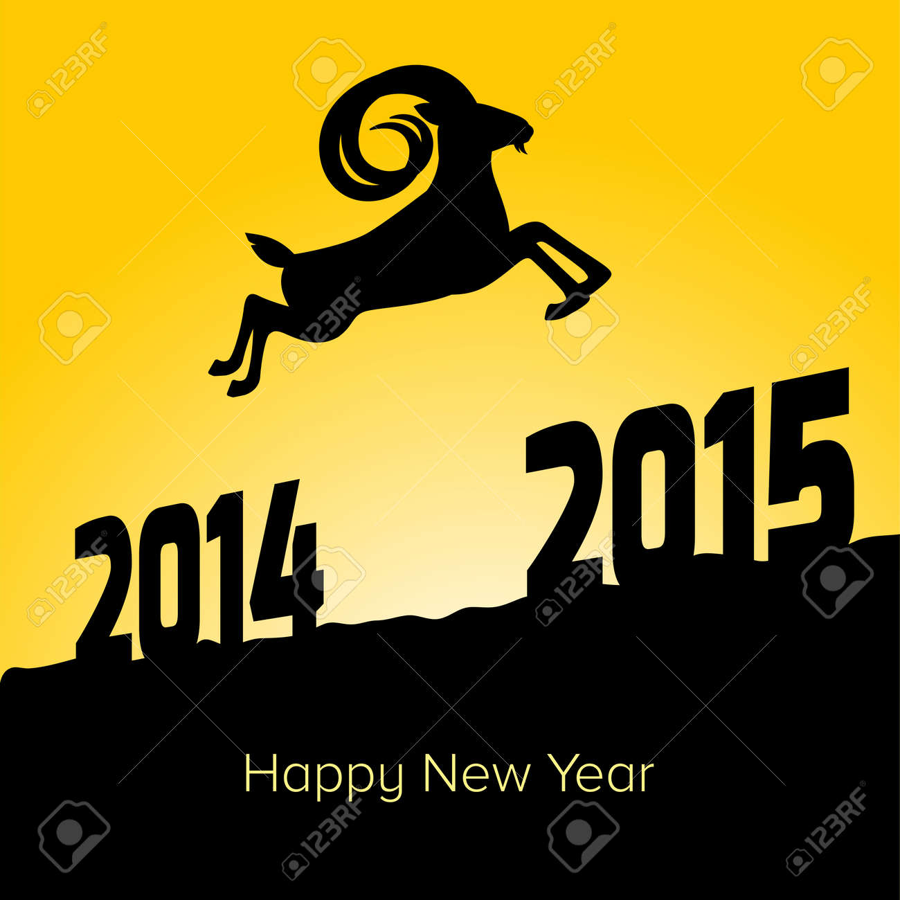Happy new year 2015 greeting card a goat jumping from year 2014 happy new year 2015 greeting card a goat jumping from year 2014 to year 2015 m4hsunfo