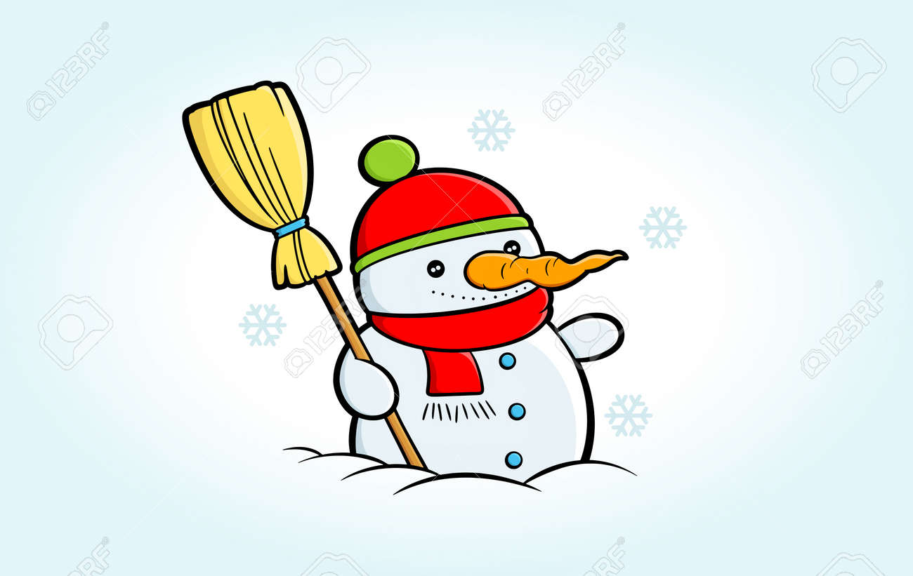 Cartoon Snowman Clipart Happy Snowman Stands In Snowy Weather