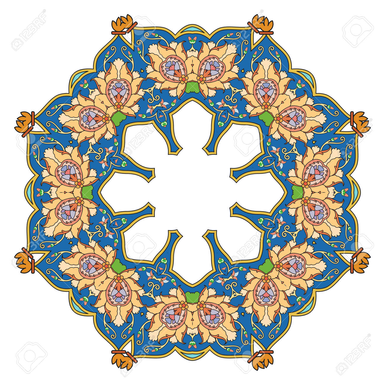 Round Pattern Mandala. Abstract Design Of Persian- Islamic-Turkish ...