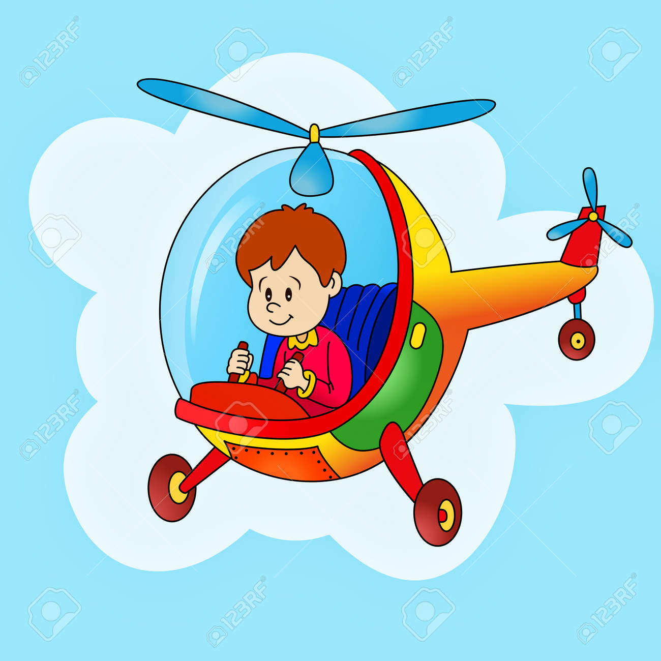 Happy Boy Flying With Helicopter Royalty Free Cliparts Vectors And Stock Illustration Image 37152091