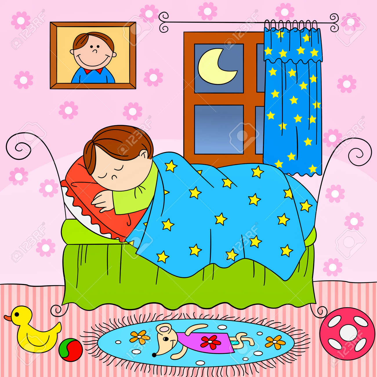 Bedroom clipart clipart kid - Child Sleeping In Bed