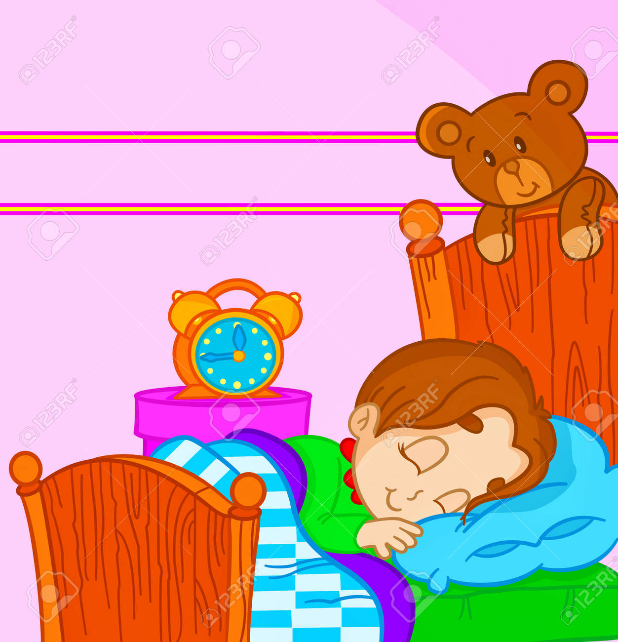 Vector   vector illustration of a little boy sleeping in bed. Vector Illustration Of A Little Boy Sleeping In Bed Royalty Free