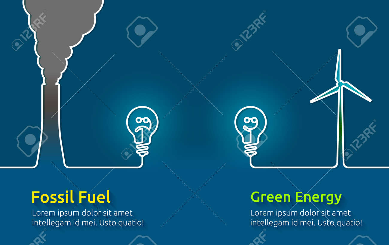 Green energy VS polluting fossil fuels - 56508239
