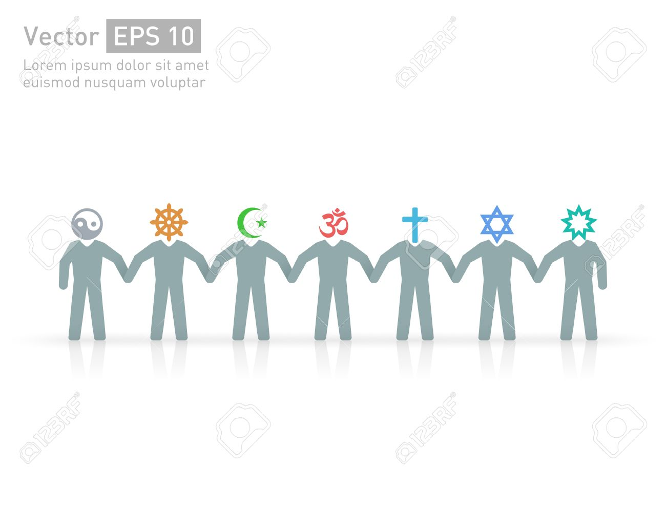 People of different religions and creed. Islam (Muslim), Judaism (Jew), Buddhism (???Buddhist ), Christianity, Hinduism (Hindu), Bahia(?Bahaee), taoism (Taoist). Religion vector symbols and characters. friendship and peace for different creeds - 56508243