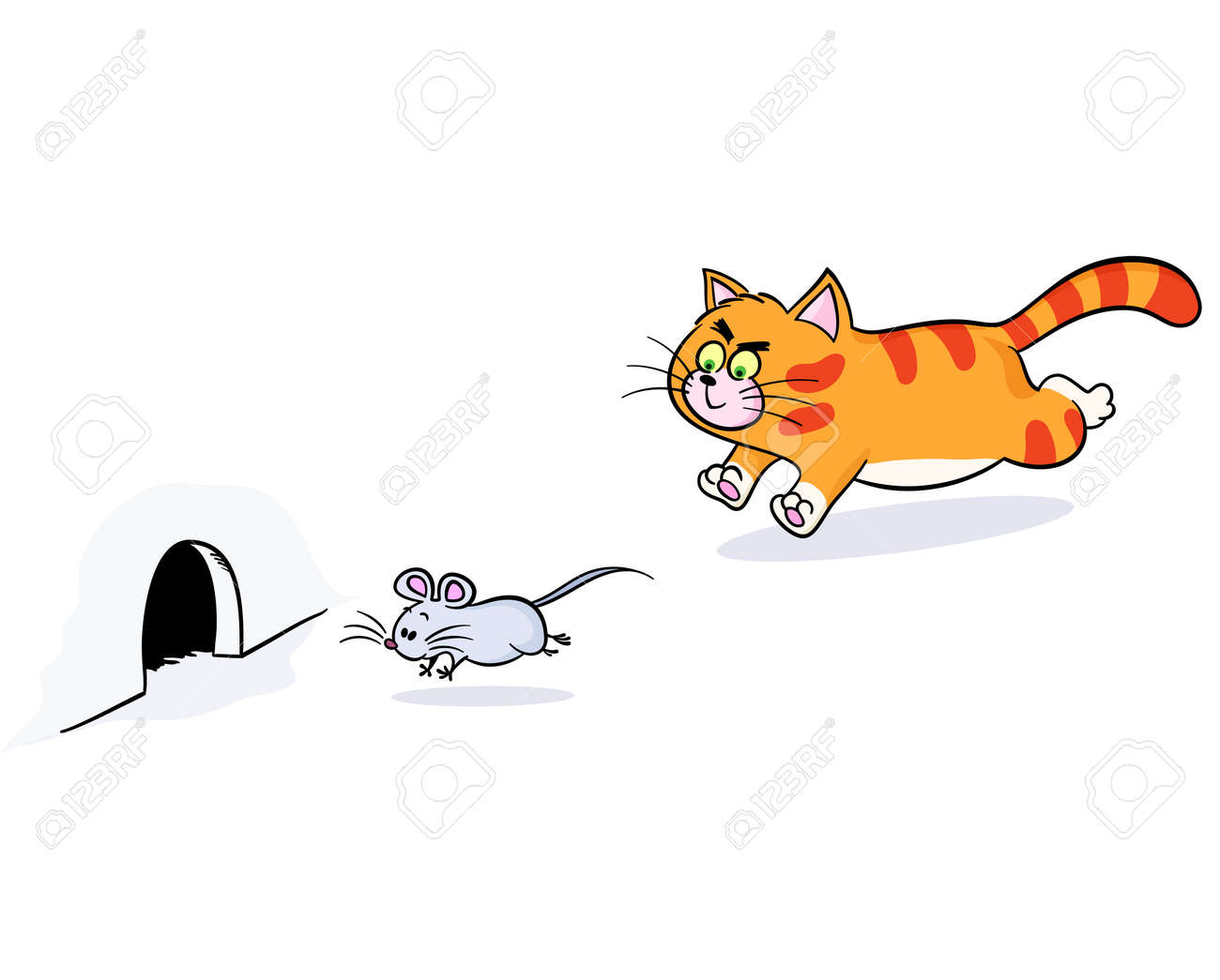 Ginger Cat Chasing A Mouse. Cat Pursuing Mouse And Mouse Escapes.. Royalty  Free Cliparts, Vectors, And Stock Illustration. Image 58512755.