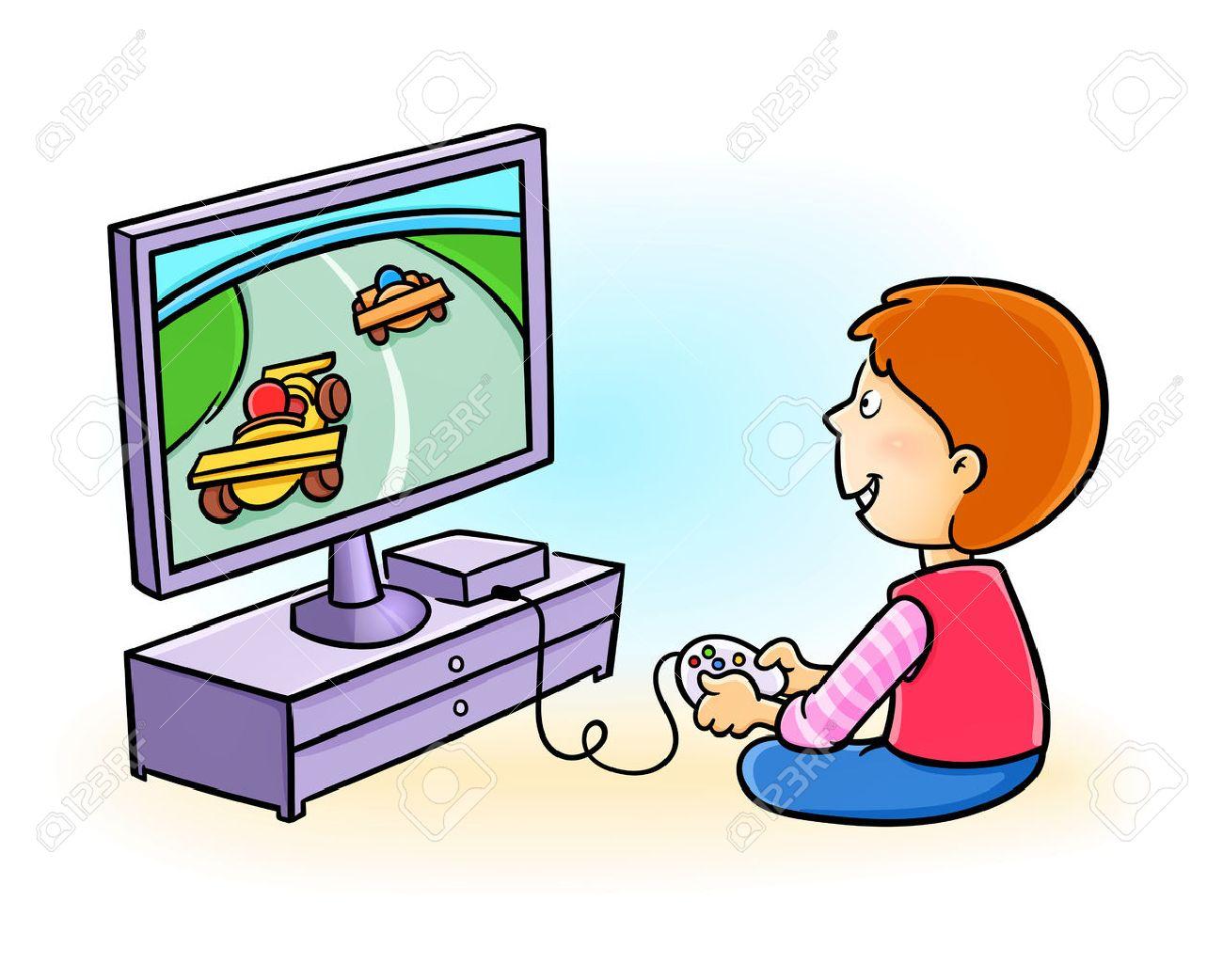 Poco Feliz De Videojuegos Nino Jugando Ilustraciones Vectoriales