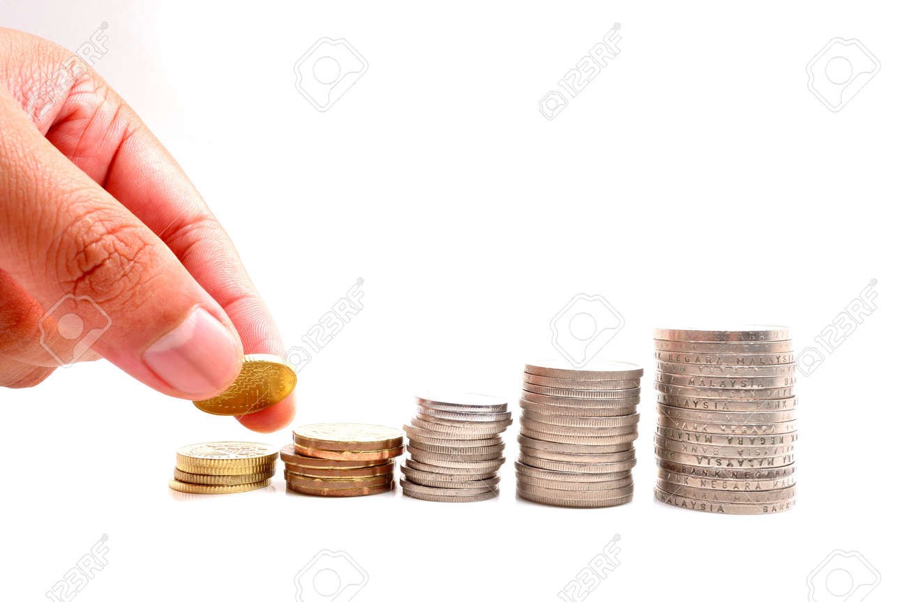 Savings Increasing Columns Of Coins Isolated On White Background