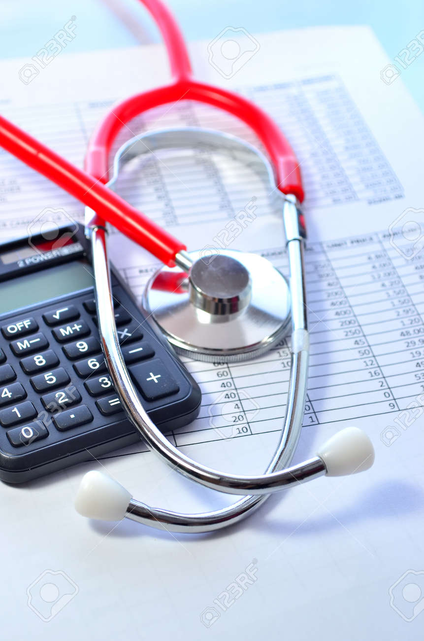 Health care costs. Stethoscope and calculator symbol for health care costs or medical insurance - 37433640