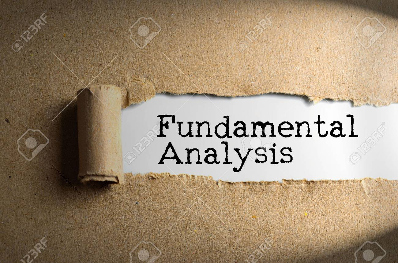 Torn paper with word FUNDAMENTAL ANALYSIS. Conceptual Images - 64176949