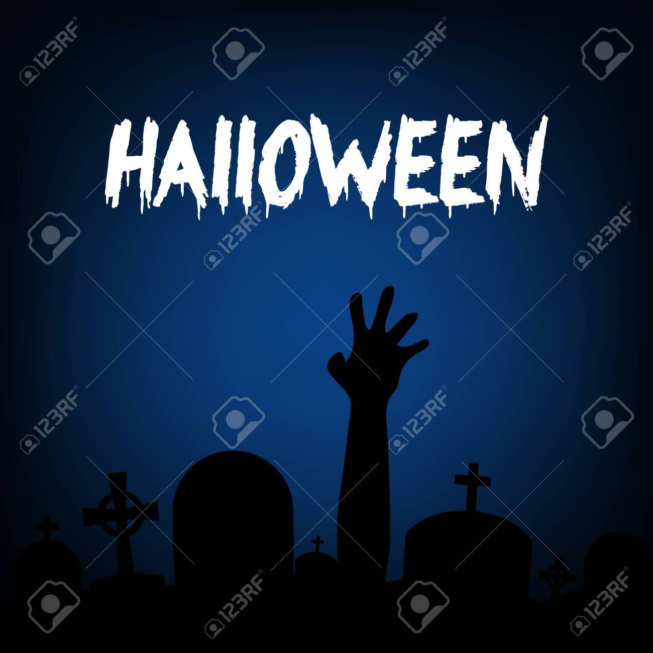 Halloween Zombie Party Invitation Card Vector Design
