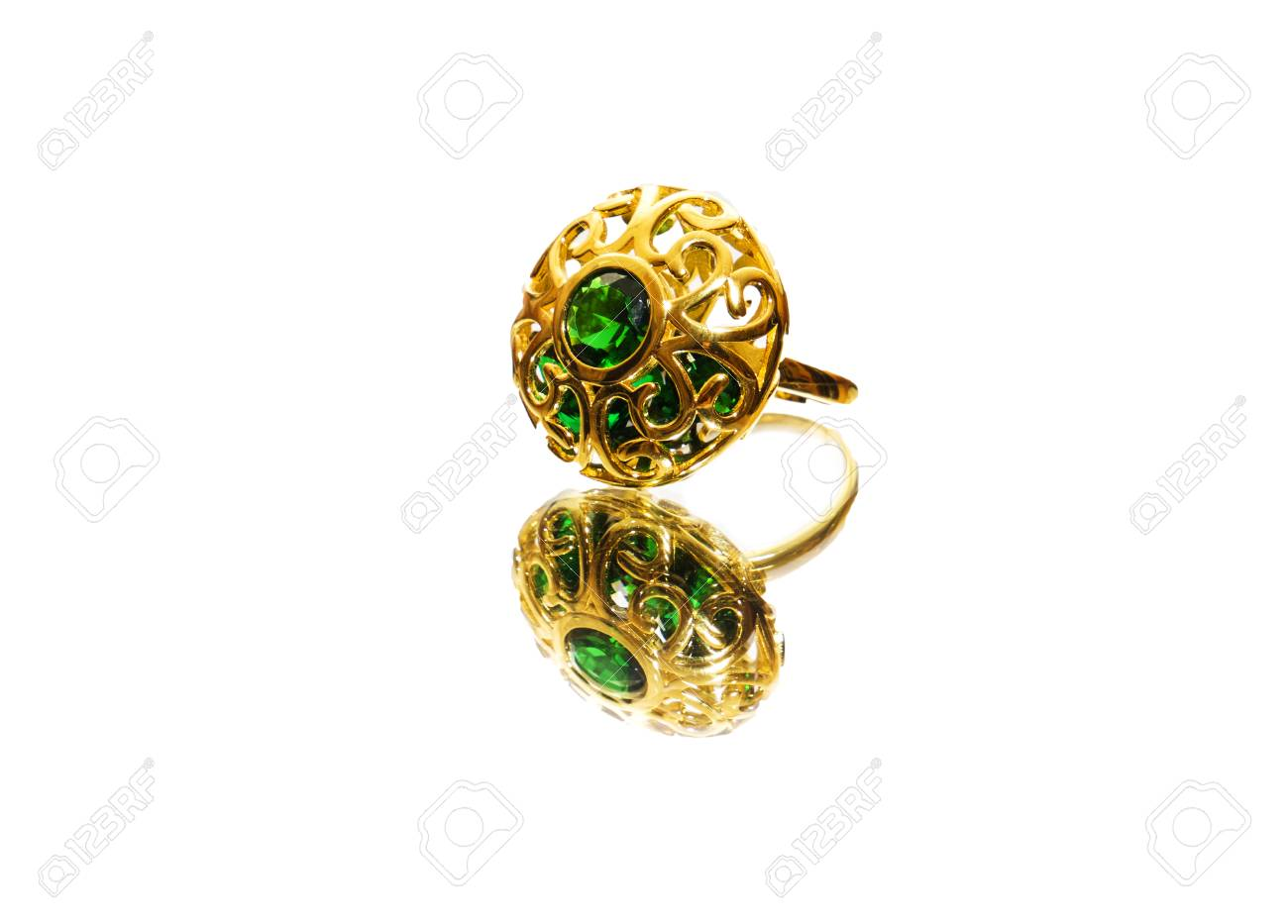Beautiful Antique Oriental Turkish Gold Jewelry Women Ring Stock