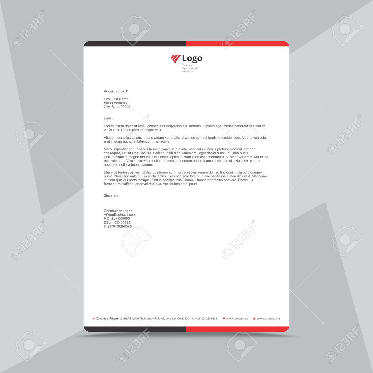 Professional Letterhead Design Template Royalty Free Cliparts