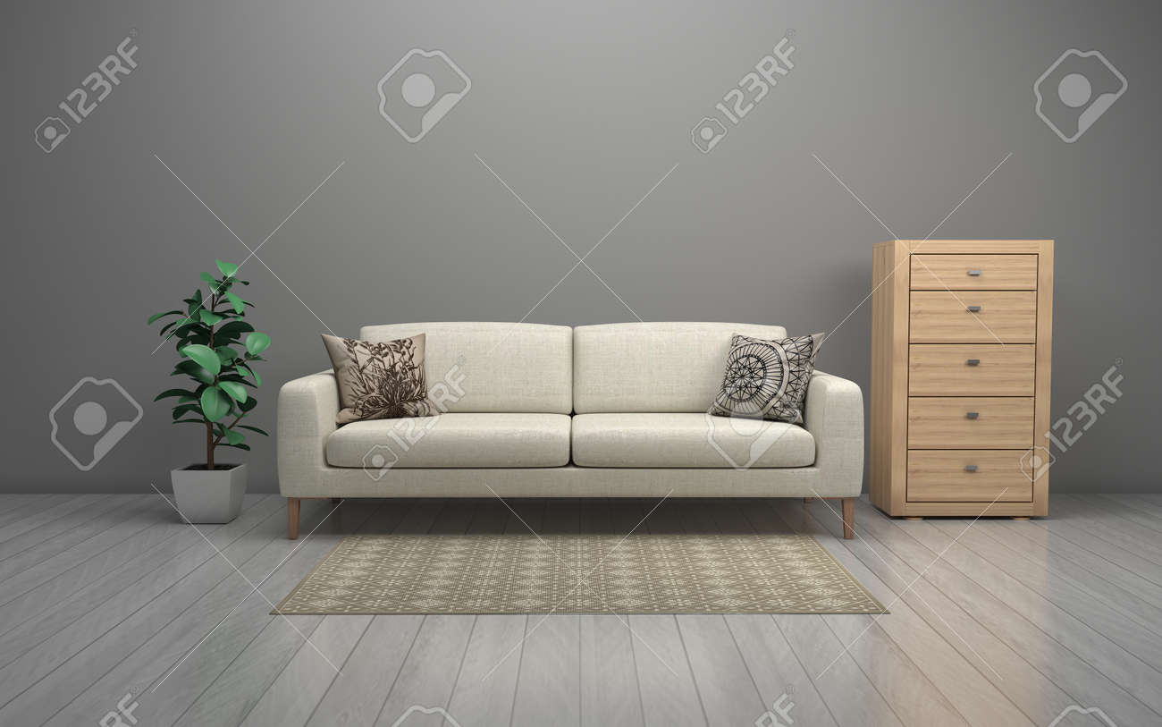 Realistic Mockup of 3D Rendered of Interior of Modern Living Room with Sofa - Couch and Table - 140127064
