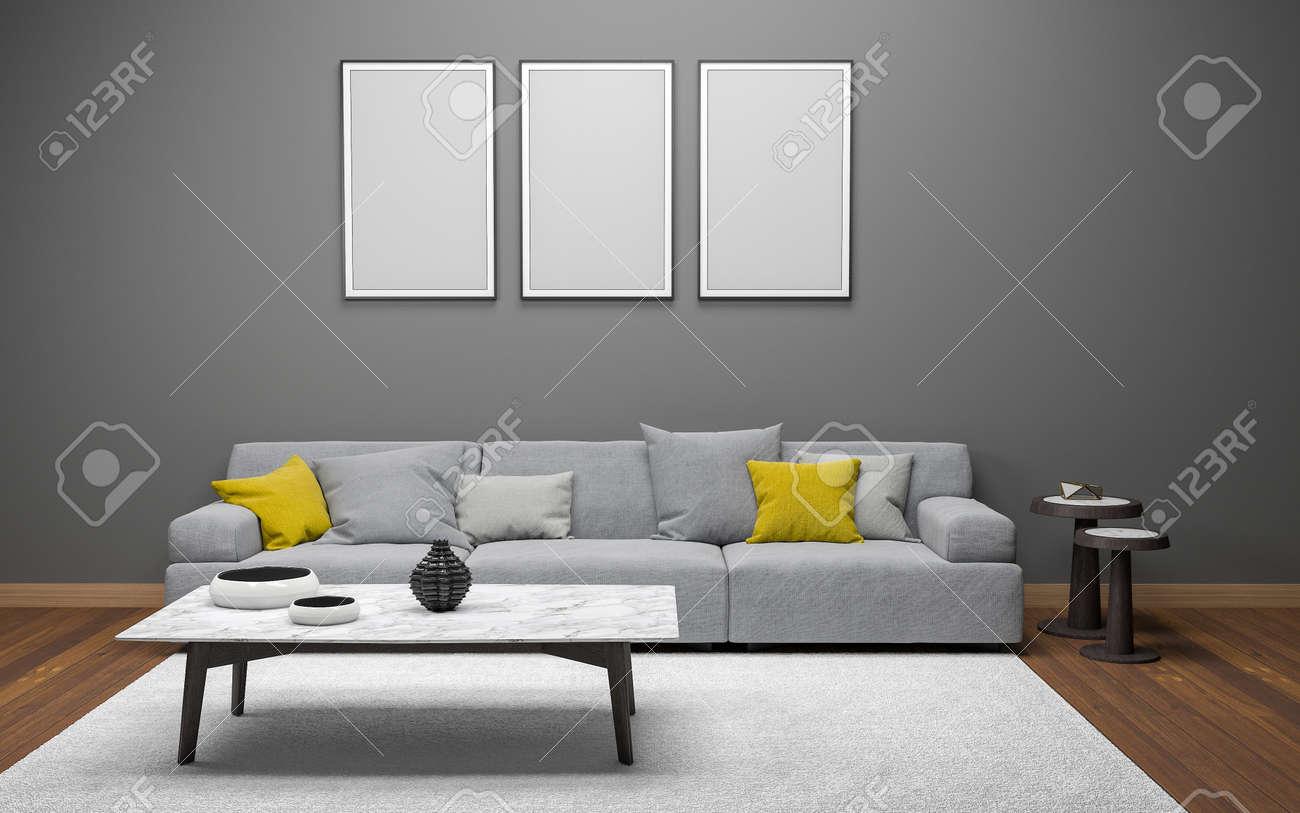 3D Realistic Mockup of living room Interior - 130266982