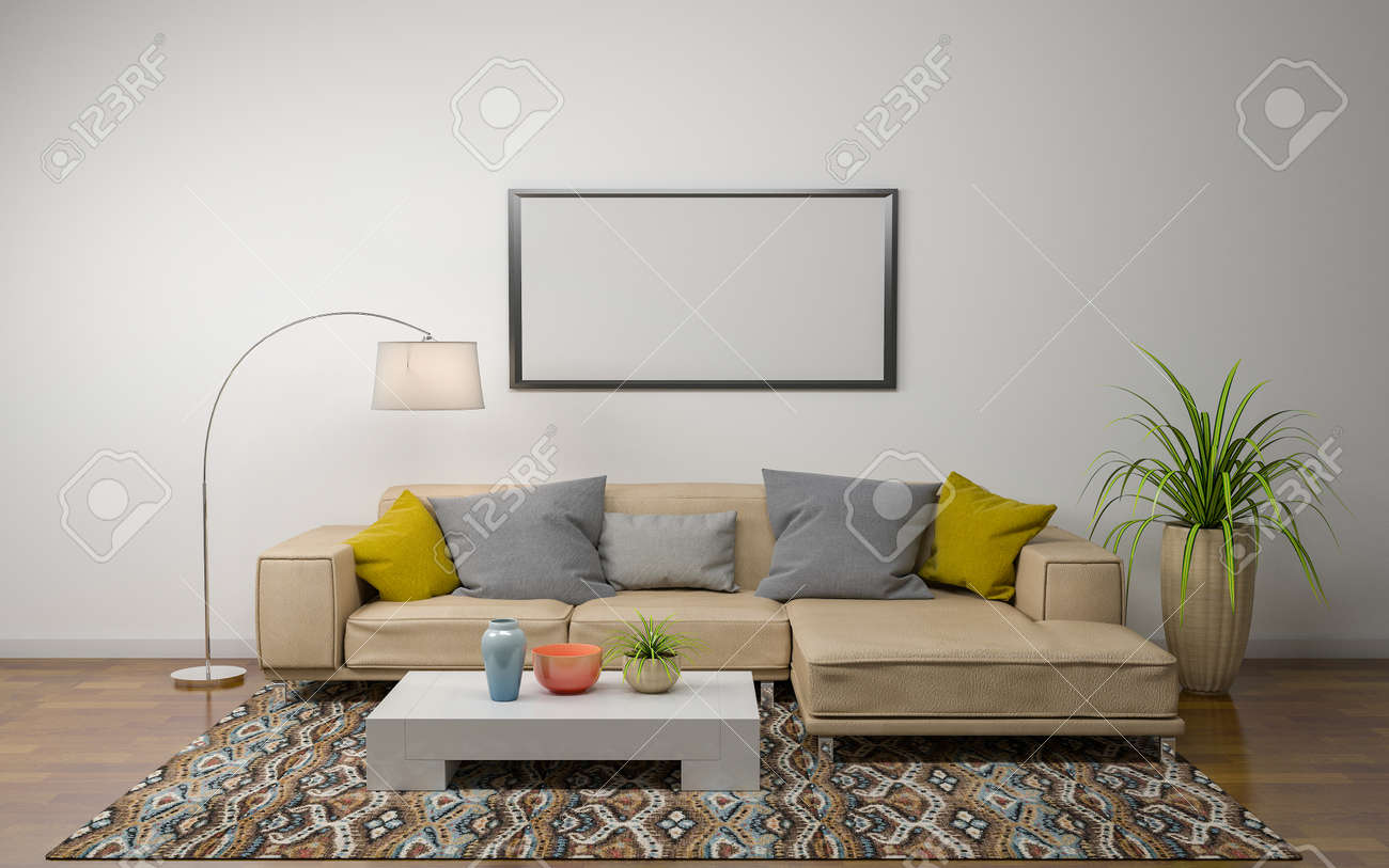 3D Rendering of Interior of Modern Living Room with Sofa - Couch and Table - 130266994