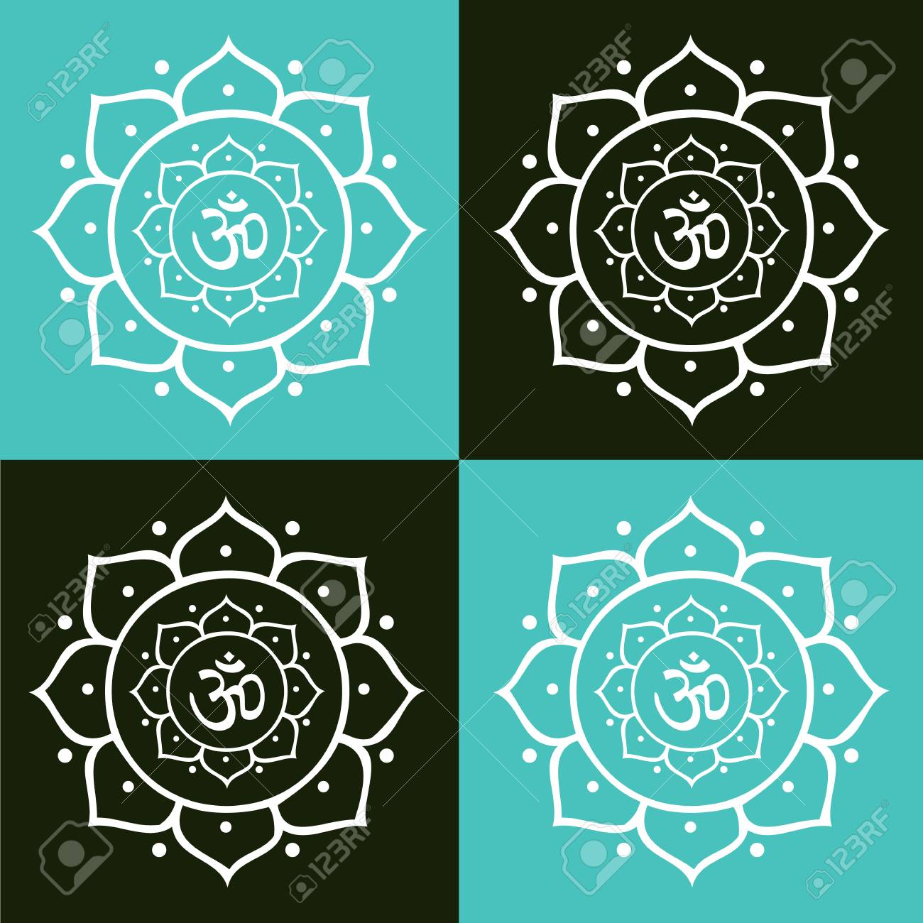 Vector om symbol and lotus flower mandala illustration royalty free vector vector om symbol and lotus flower mandala illustration mightylinksfo