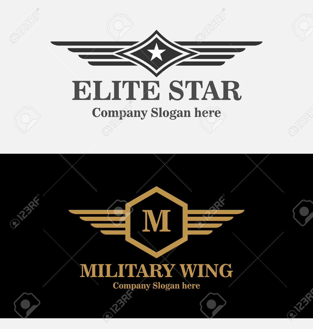 Army and military badges and strength icon symbols