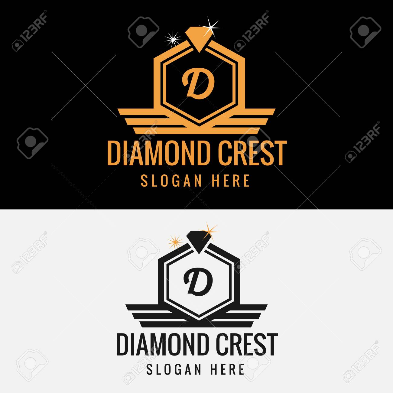 royal diamond crest logo template royalty free cliparts vectors