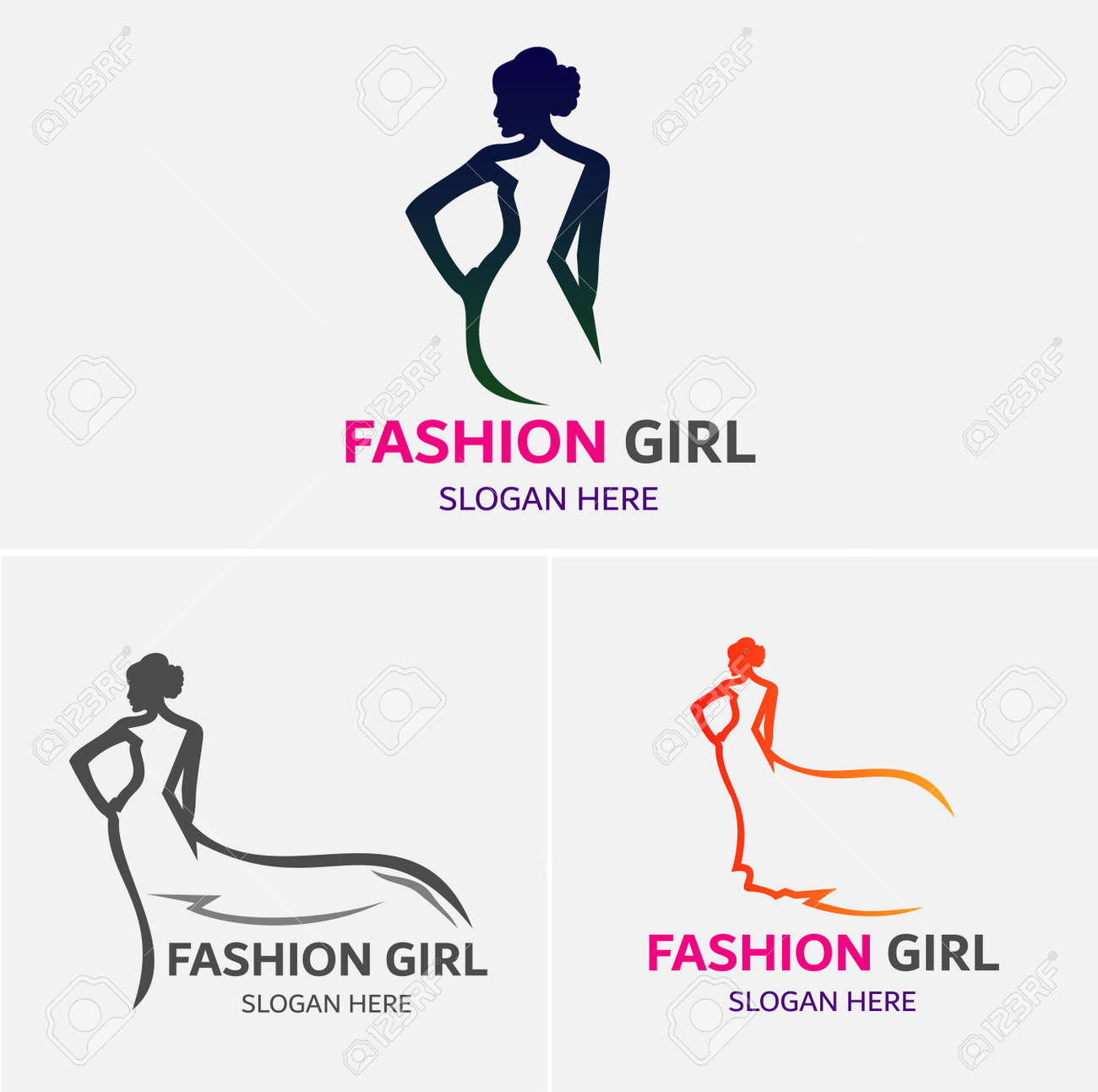 fashion girls logo template royalty free cliparts vectors and