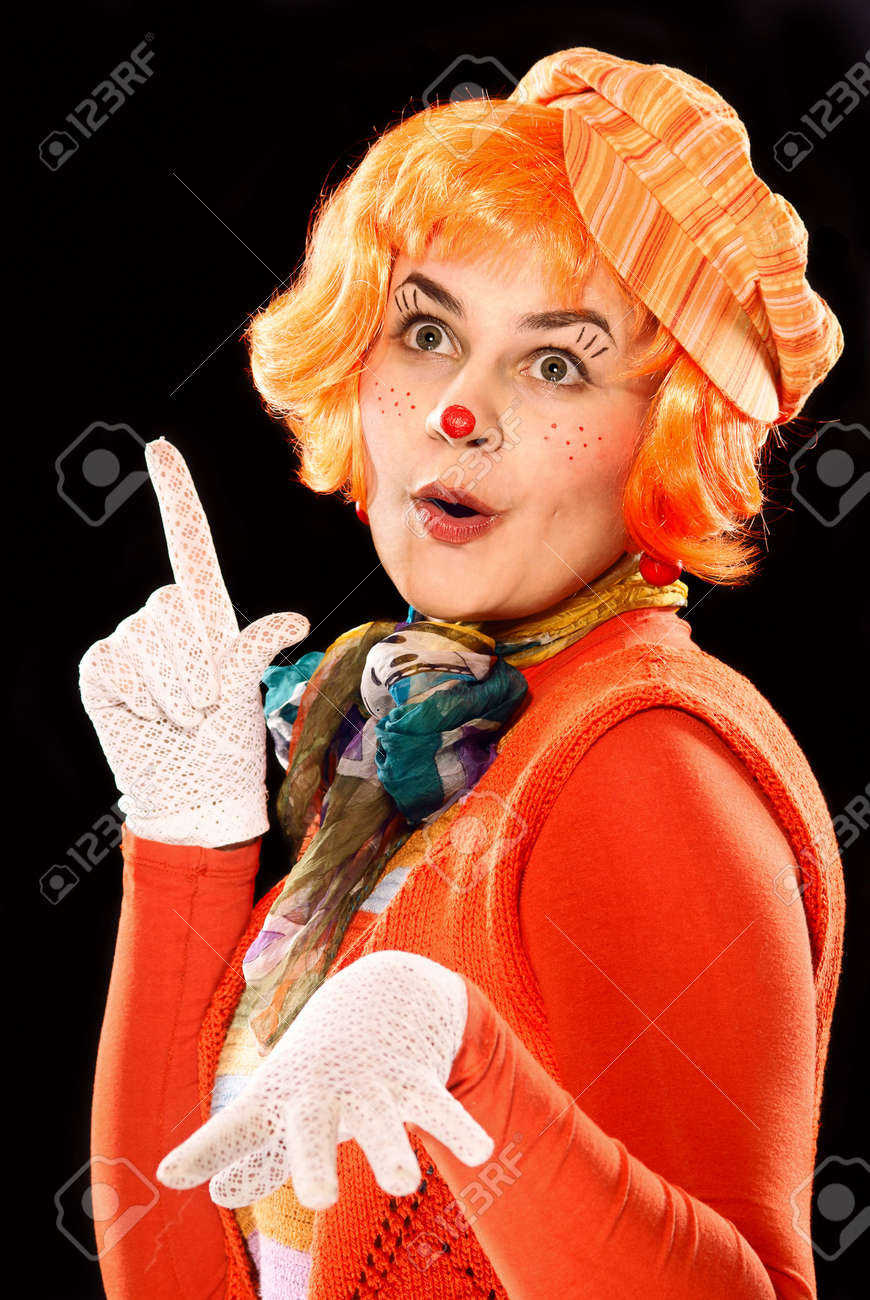 Portrait of a clown. Blsck bsckground. Studio shot. Stock Photo - 6801348