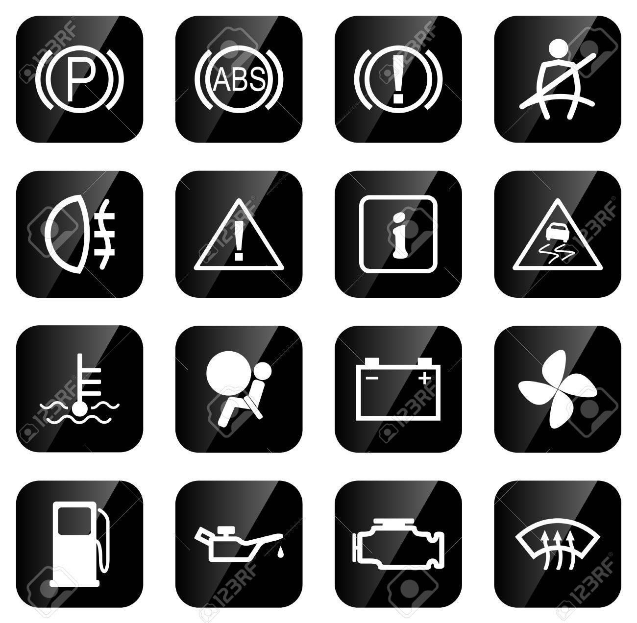 Set Of Icons For Car Dash Vector Illustration Royalty Free - Car image sign of dashboardcar dashboard icons stock images royaltyfree imagesvectors
