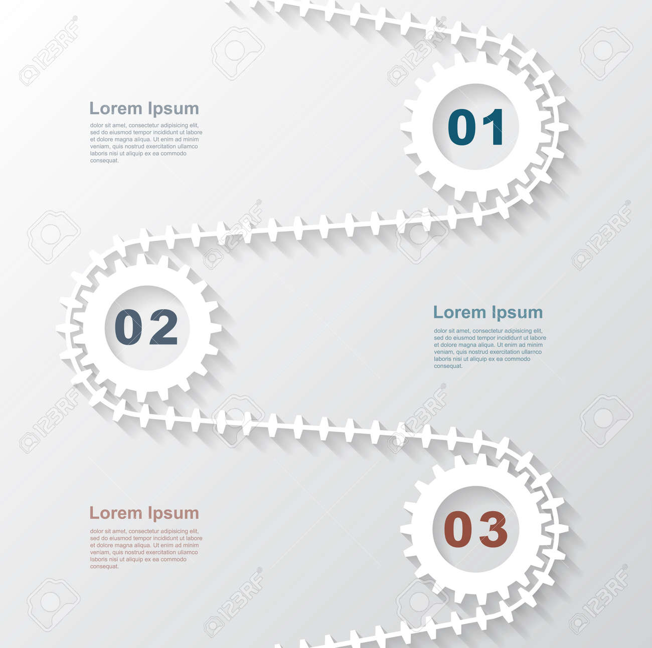 infographic template with paper gears template for business