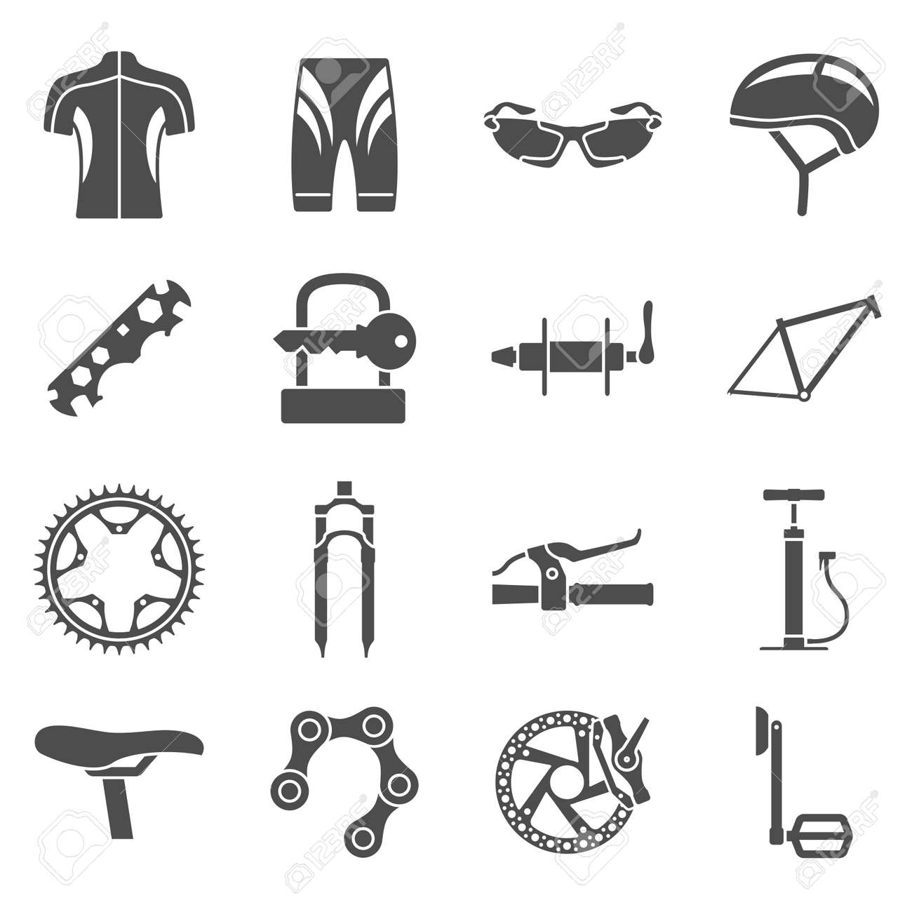 Set Of Black And White Silhouette Icons Of Bicycle Spare Parts