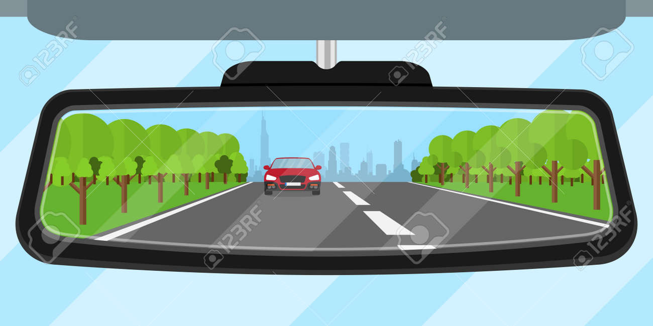 picture of a car rear view mirror reflected road, another car, trees and big city silhouette, flat style illustration - 42865244