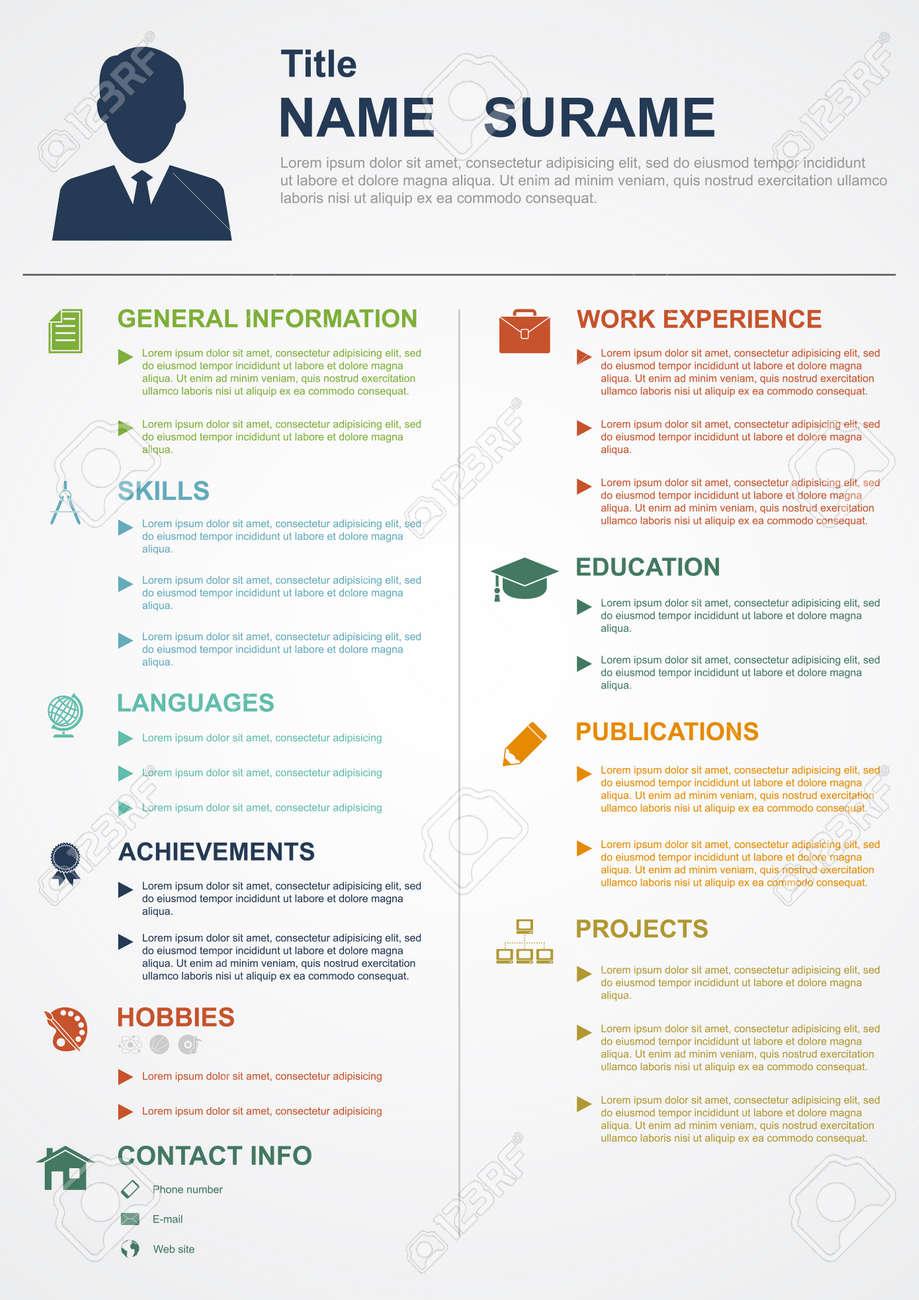 Infografik Vorlage Mit Symbolen Für Cv, Persönliches Profil ...