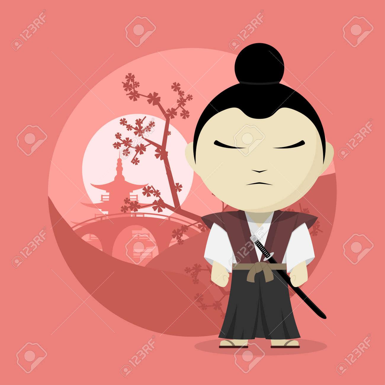 Imagen De Un Samurai De Dibujos Animados Ilustracion Estilo Plano Ilustraciones Vectoriales Clip Art Vectorizado Libre De Derechos Image 44570753