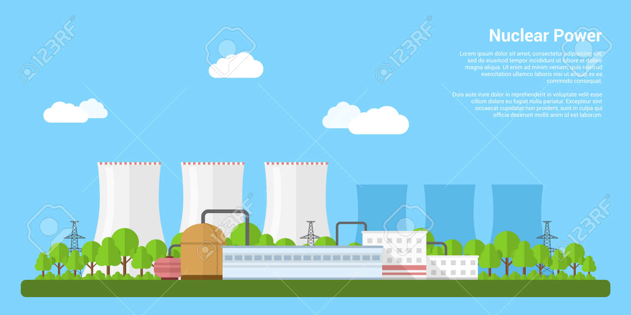 picture of nuclear power plant, flat style banner concept of power generation concept - 47198652