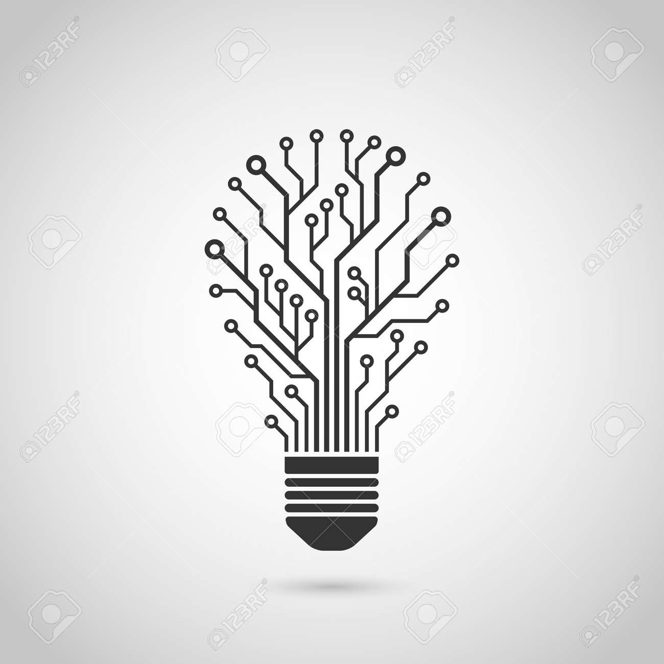 Black And White Silhouette Icon Of A Light Bulb In Form Of Printed Circuit  Board,