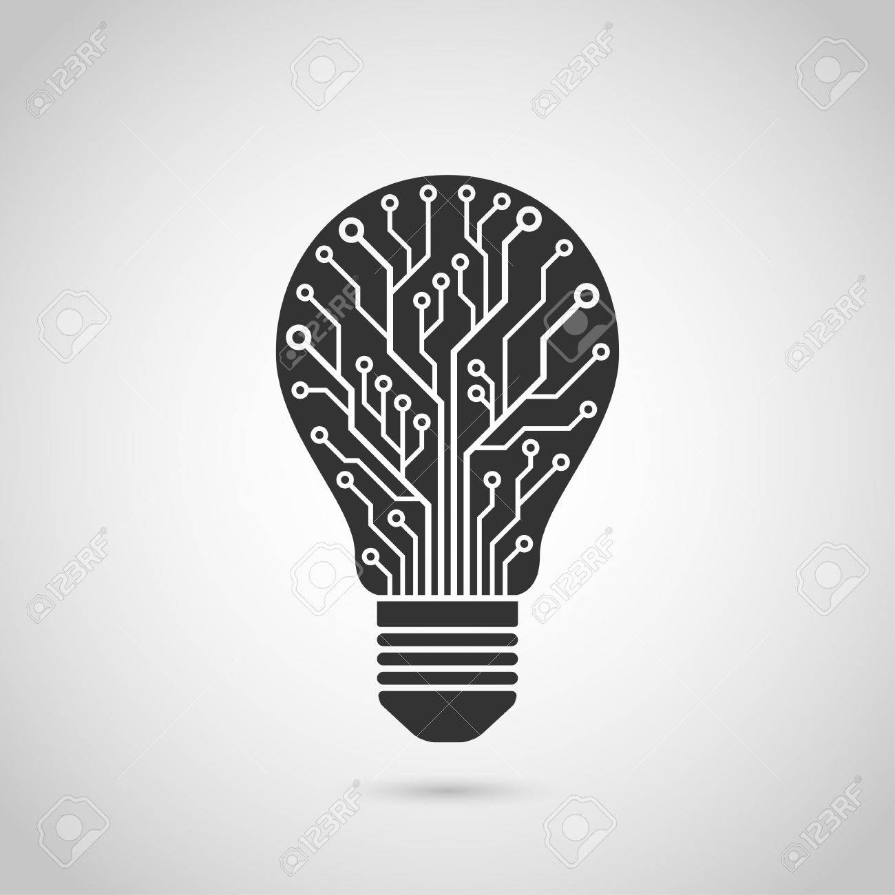 Black And White Silhouette Icon Of A Light Bulb In Form Of Printed