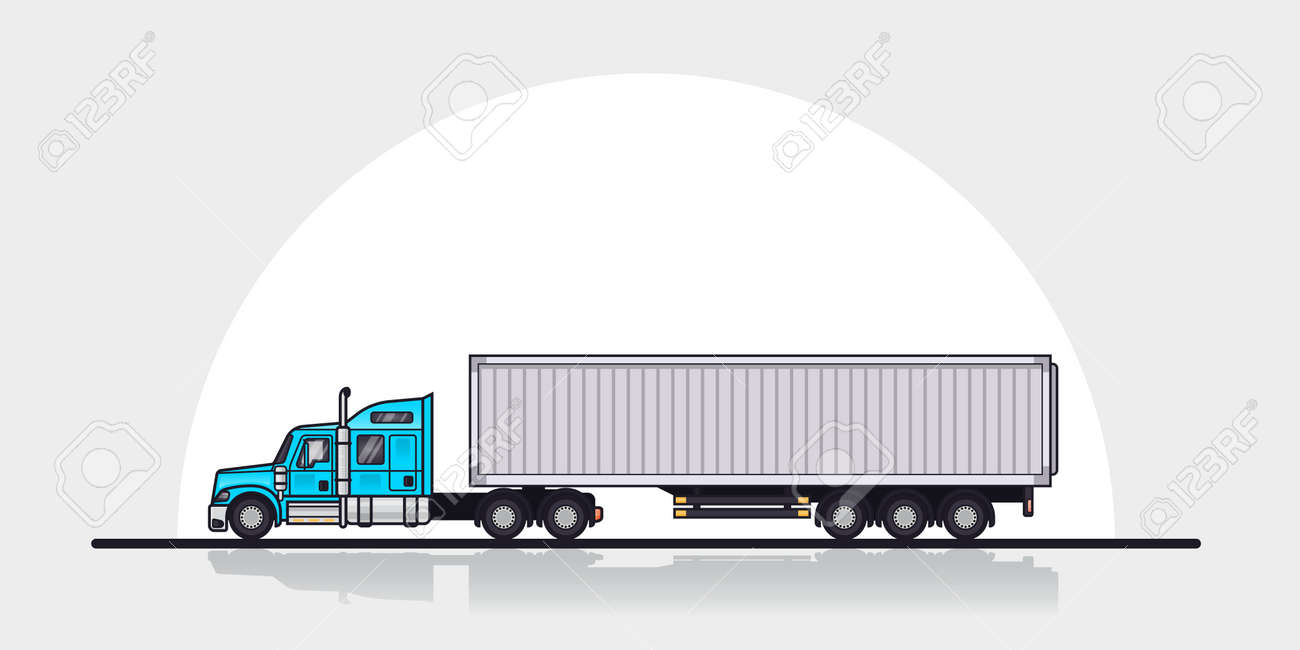 Picture of modern american cargo truck trailer side view flat style line art illustration
