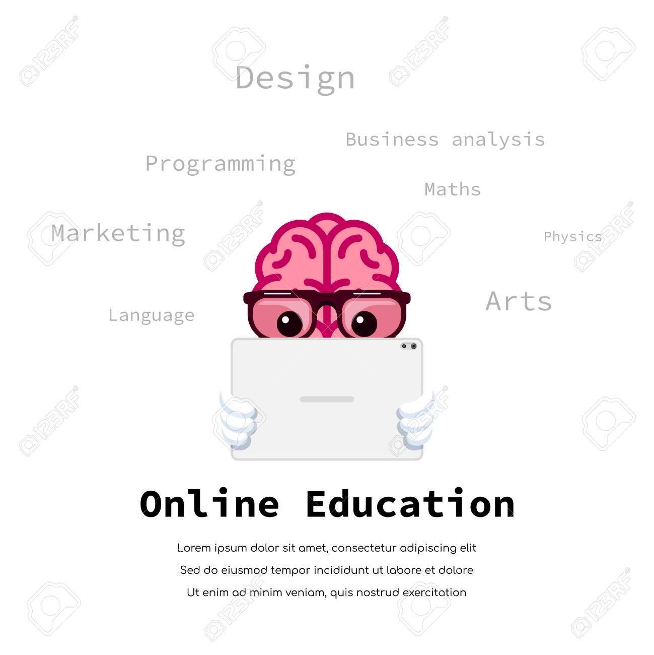 Human brain watching educational video on tablet  Online education