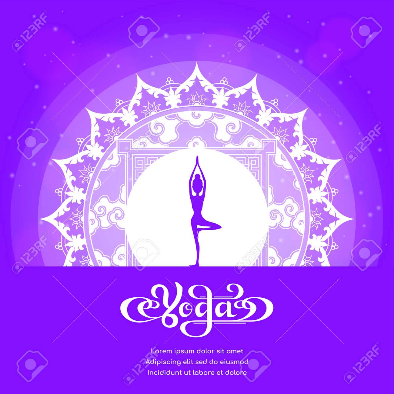 Yoga Studio Logo With Mandala Design Banner Design For Yoga Royalty Free Cliparts Vectors And Stock Illustration Image 114372558