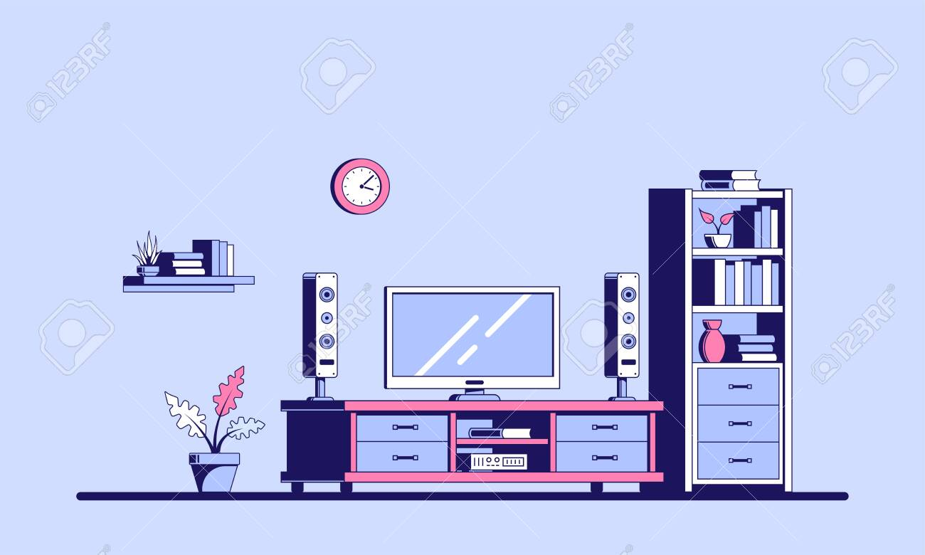Tv Room With Furniture Flat Style Illustration Of A Room Interior Royalty Free Cliparts Vectors And Stock Illustration Image 130366879